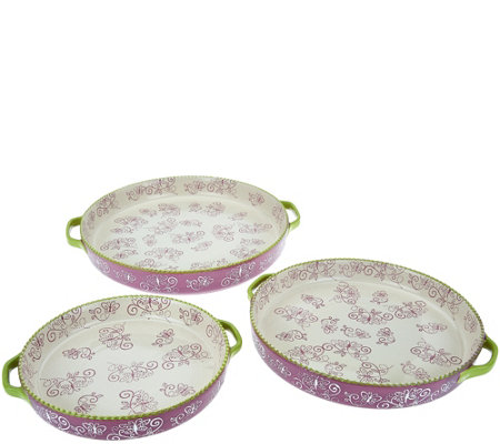 Temp-tations Set of 3 Floral Lace Round Nesting Bakers