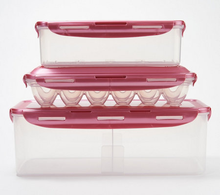 Lock & Lock 3 piece Bread, Bacon, and 12 Egg Storage Set