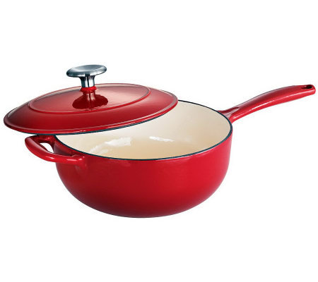 Tramontina Gourmet Enameled Cast-Iron 3-qt Covered Saucier