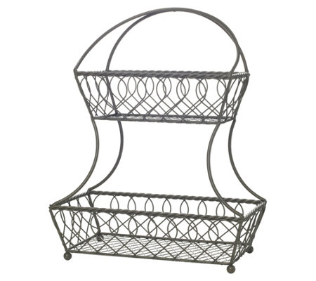 Gourmet Basics by Mikasa Loop And Lattice 2-Tier Gray Basket