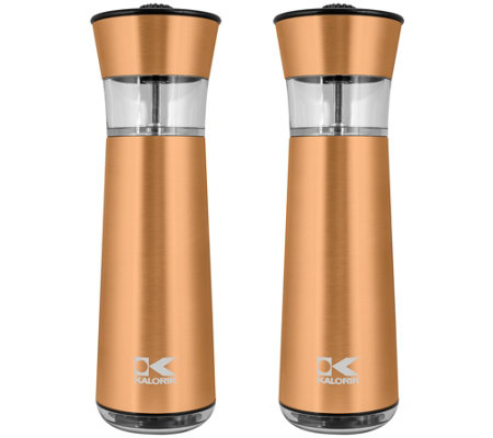 Kalorik Electric Gravity Salt And Pepper Grinder Set