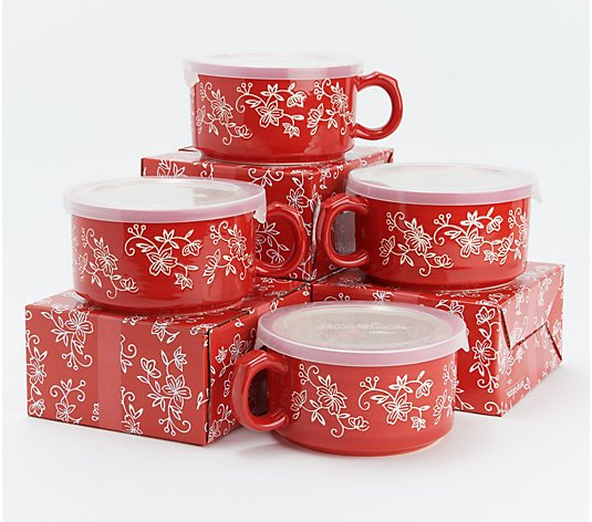Temp-tations Floral Lace Set of 4 Meal Mugs with Gift Boxes