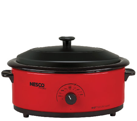 Nesco 6-qt Red Roaster with Porcelain Cookwell