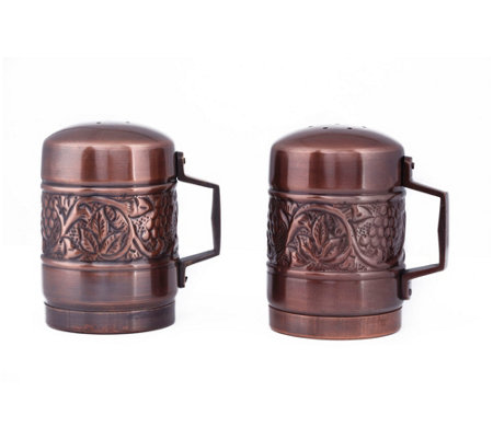 Old Dutch Antique Embossed Heritage Salt Pepper Shaker Set