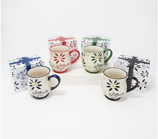 Temp-tations Set of (4) 16-oz Mugs with Gift Boxes