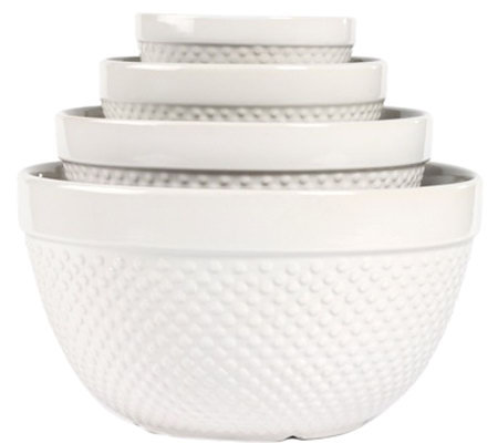 Tabletops Gallery 4 Pc Hobnail Mixing Bowl Set