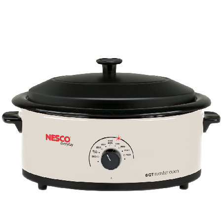 Nesco 6-qt Ivory Roaster with Porcelain Cookwell