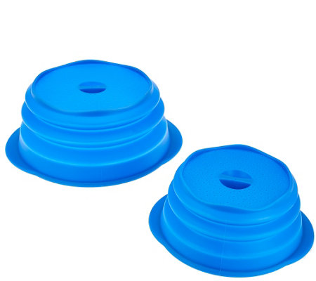 """As Is"" Set of 2 Silicone Collapsible Multi-Lids"