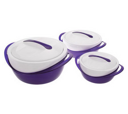 Completely new Set of 3 Thermal Hot/Cold Serving Bowls with Lids - Page 1 — QVC.com GH23