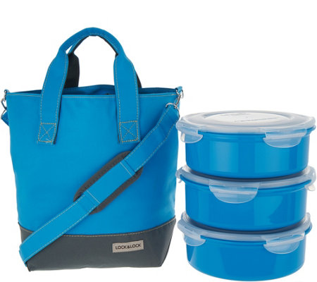 Lock & Lock Insulated Tote Bag with 3-Piece Storage Set