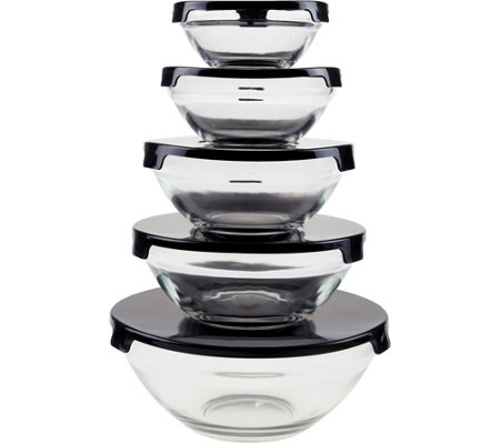 Chef Buddy 10-Piece Glass Bowl Set with SnapLids