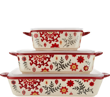 Cook's Essentials Del Rey 3-pc Ceramic Bakers with Lids