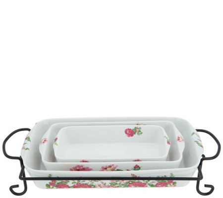 Darbie Angell Rose Porcelain 4-piece Bake & Serve w/ Gift Box