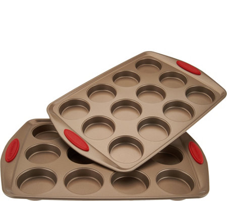 Rachael Ray (2) 12 Mini Cake Pans with Silicone Handles