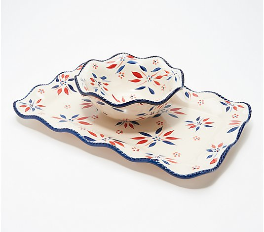 Temp-tations Old World Ruffled Bowl with Serving Platter