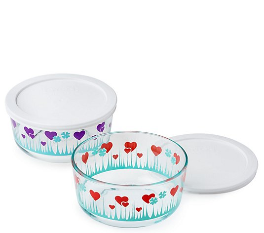 Pyrex Simply Store 2-Piece Lucky in Love Bowlswith Lids