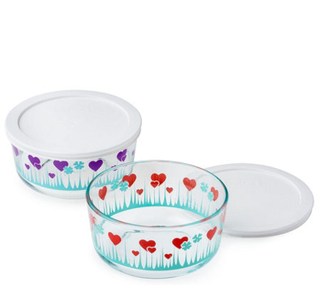 Pyrex Simply Store 2 Piece Lucky In Love Bowlswith Lids