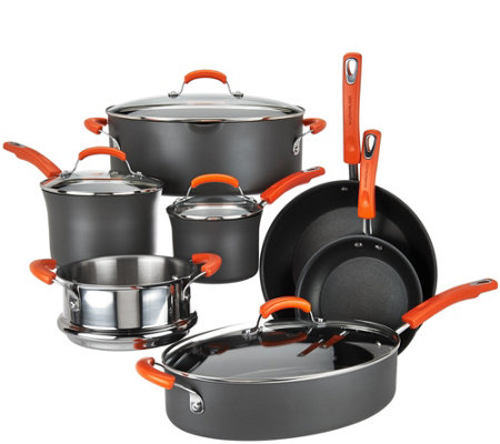 Rachael Ray 11-Piece Hard Anodized Dishwasher Safe Cookware Set