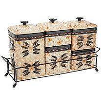 Temp-tations Old World Ceramic Canister Set w/ Metal Rack - K46971
