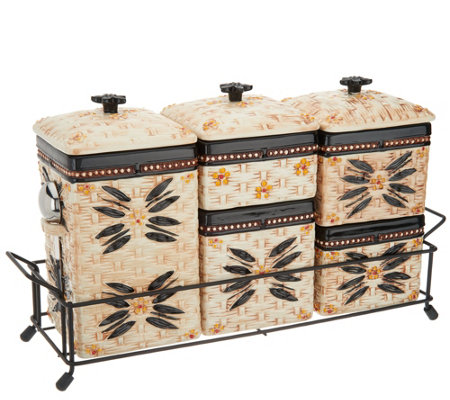 Temp-tations Old World Ceramic Canister Set w/ Metal Rack