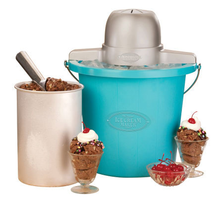 Nostalgia Electrics 4-Qt Blue Bucket Electric Ice Cream Maker