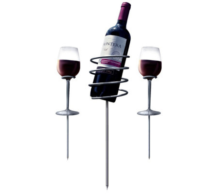 Sorbus Set of 2 Wine Stakes w/ Bottle Holder &2 Glass Holders