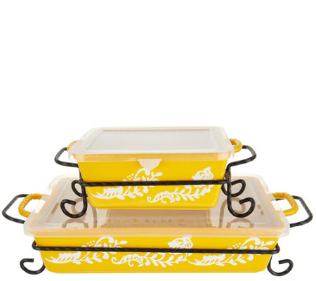 Valerie Bertinelli 4-Piece Bake & Serve Set w/ Lids