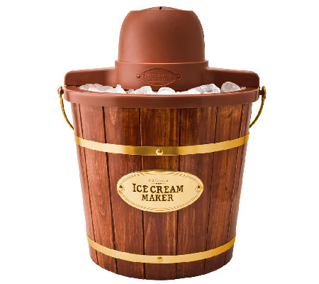 Nostalgia Electrics 4-Qt Wood Bucket Electric Ice Cream Maker