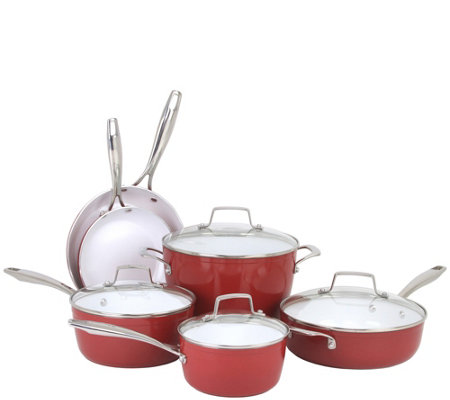 Oneida 10-Piece Forged Aluminum Cookware Set -Red Clay