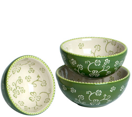 Temp-tations Floral Lace Set of 3 Nested Prep Bowls