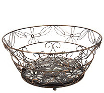 Temp-tations Decorative Wire Basket with Removable Ceramic Trivet - K47975