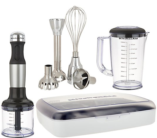 KitchenAid 5 Speed Immersion Blender w/ Case And Attachments