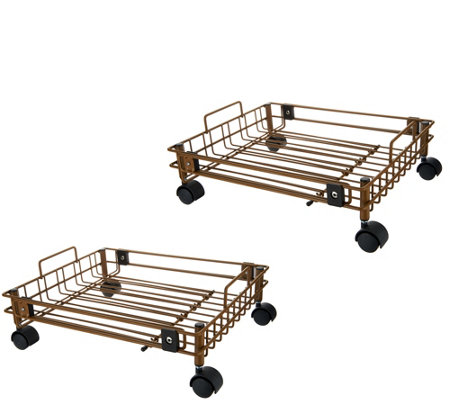 Set of 2 Expandable Storage Organizers with Wheels