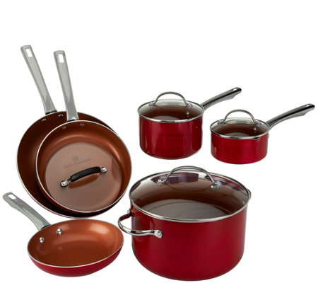 """As Is"" Cook's Essentials 10-piece Ceramic Cookware Set"