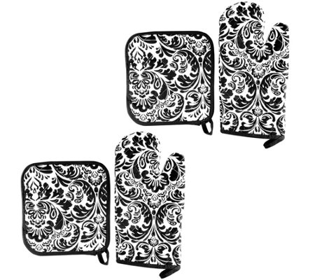 Lavish Home 4-Piece Oven Mitt & Pot Holder Set