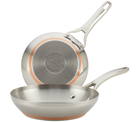 Anolon Nouvelle Copper Stainless Steel Twin-Pack Skillets