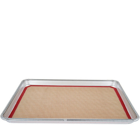 """As Is"" Cooks Essentials Silicone Crisp Mat & Uncoated Perforated Pan"