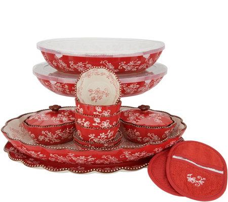 Temp Tations Floral Lace 17 Piece Entertaining Bakeware Set