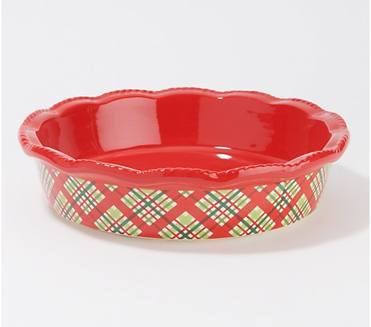 "Temp-tations Patterned Ruffled Edge 9"" Pie Plate"