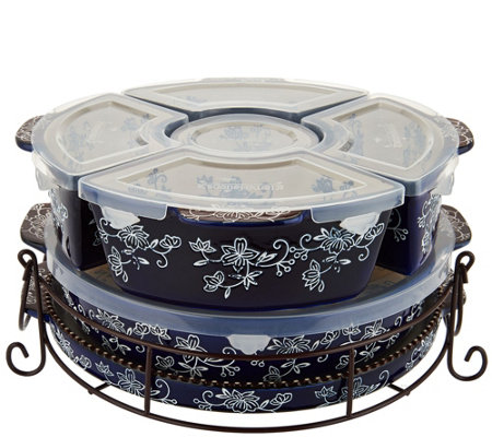 """As Is"" Temp-tations Floral Lace 3qt Baker with Ramekins & Lid"