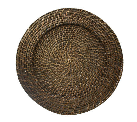 "Charge It! by Jay 13"" Set of 4 Brown Rattan Charger Plates"