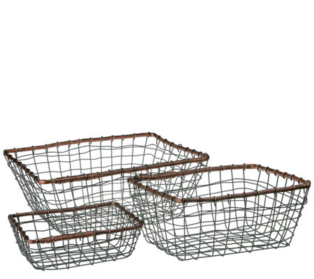 Down to Earth Set of 3 Rectangular Baskets withRattan Rim