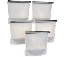 Cook's Essentials S/5 Silicone Steam & Store Food Bags - K46284