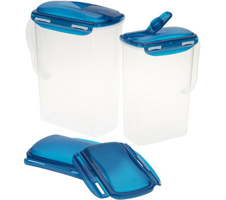 Lock & Lock Set of 2 Pitcher Storage Set with Travel Lids