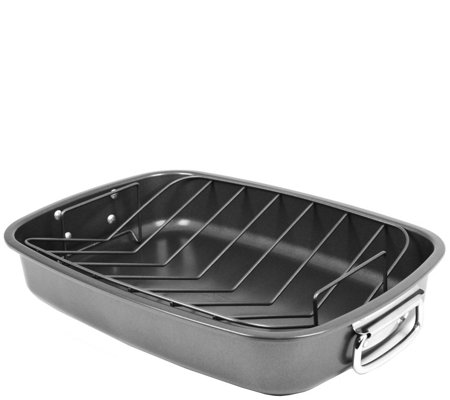 Oneida Carbon Steel Roaster with V-Rack - Gray