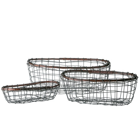 Down to Earth Set of 3 Oval Wire Baskets with Rattan Rim