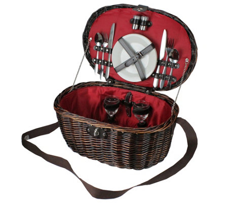 Northlight 2-Person Woven Willow Picnic BasketSet