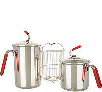 Kuhn Rikon Set of (2) Stainless Steel 4th Burner Pot with Strainer - K48186