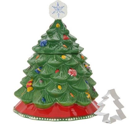 Temp Tations Christmas Tree Cookie Jar Qvc Com