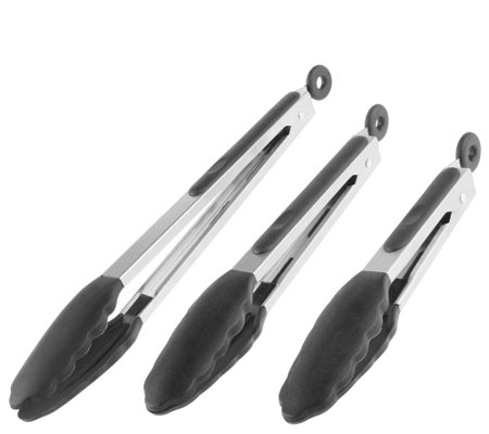 Classic Cuisine Set Of 3 Stainless Steel Kitchen Tongs